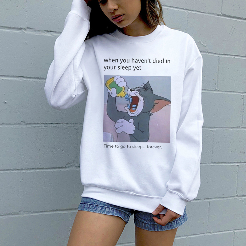 Autumn And Winter New Harajuku Fun Cat And Mouse Print Casual Sweatshirt Fashion Aesthetic Loose Hood O-neck Women Sweatshirt