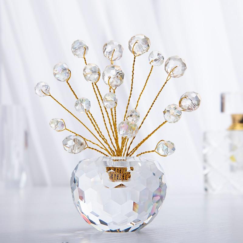 H&D Crystal Bonsai Fortune Money Tree Figurine With AB Beads Window Suncatcher Decor Showpiece For Good Luck,Wealth Prosperity