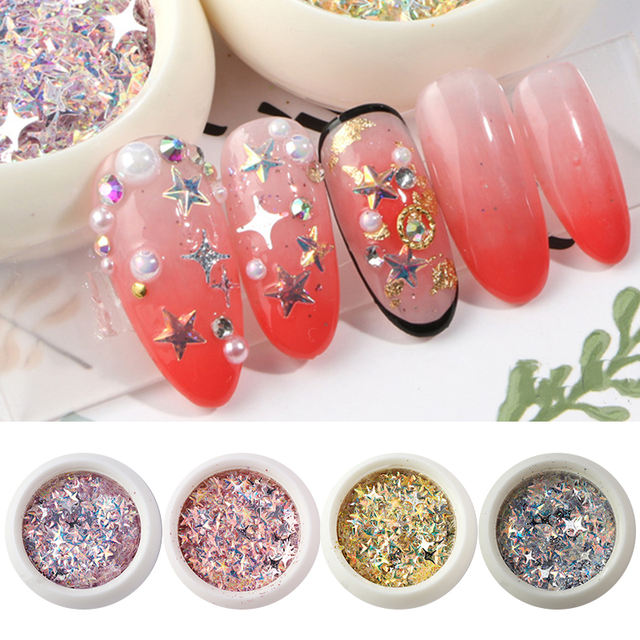 Nail Glitter Sequins Holographic Effect Shining Colorful Mixed Sizes 3D Nail Art Beauty Decorations Tips in Box DIY Design