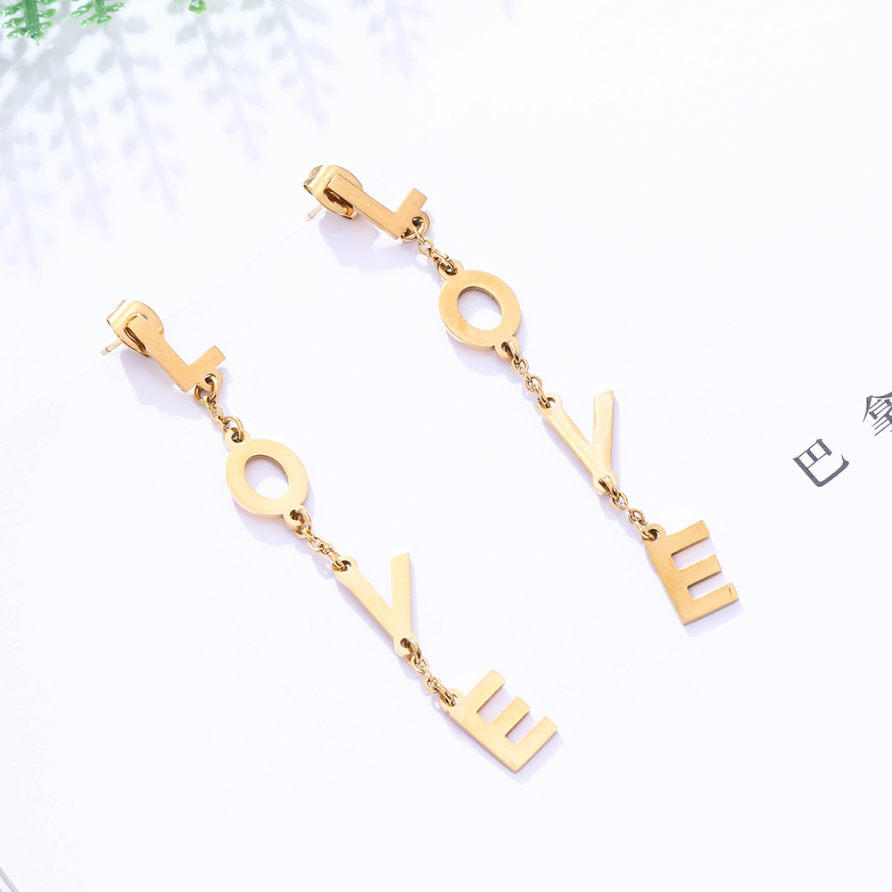 Stainless Steel Stud Earring Korean Jewelry Long Tassel LOVE Letters Dangle Gold Color Earrings For Women Pendientes 2020 image