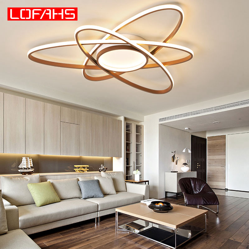 LOFAHS modern LED ceiling lights Remote Brown large lamp For Bedroom living Room Candelabre lusteri Chandelye Lustr Avizeler