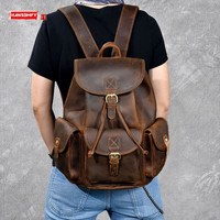 Retro Classic Original Handmade Crazy Horse Leather Men's backpack large capacity male Leather travel Backpacks Drawstring Bags
