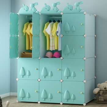 Simple Children's Wardrobe Cartoon Economic Plastic Cloth Assembly Baby Children's Wardrobe Baby Storage Cabinet