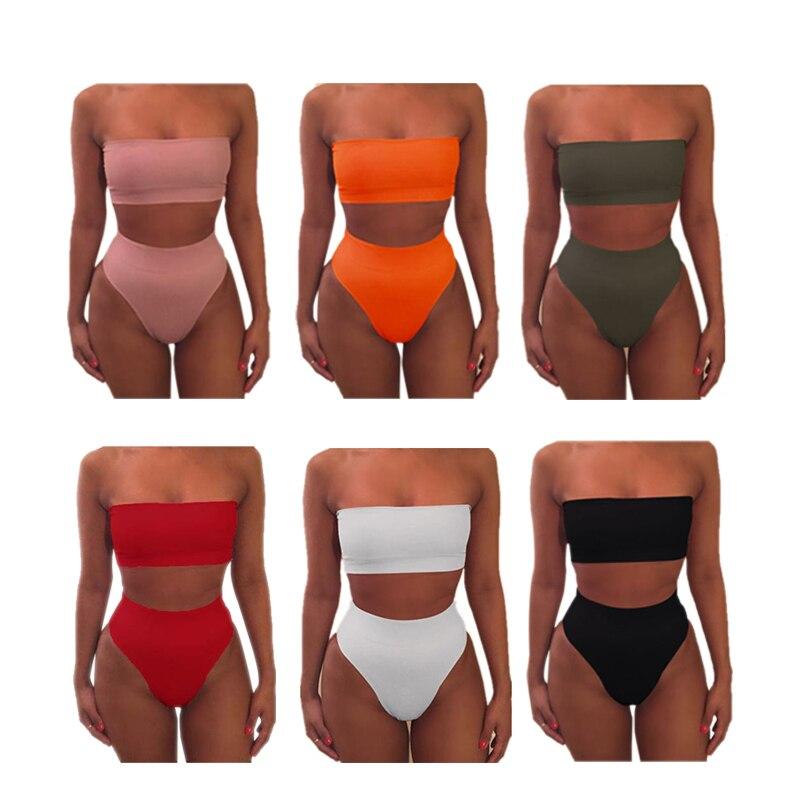 Sexy Bikini Off Bandage Swimsuit Female Bra Briefs Suits 6 Colors Two-piece Swimwear Backless Simple Women Swimming Beachwear
