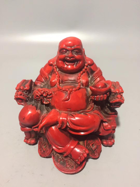 Chinese Handmade Red Coral Carved Maitreya Buddha Happy Buddha Laughing Buddha Statue Luck Gift Home Decoration