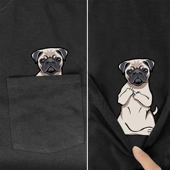 Funny T koszula moda marka letnia z kieszenią z nadrukiem z psem koszulka męska dla kobiet koszule topy hip-hopowe śmieszne koszulki bawełniane tanie i dobre opinie PLstar Cosmos SHORT CN (pochodzenie) Z okrągłym kołnierzykiem Sukno COTTON Na co dzień Drukuj
