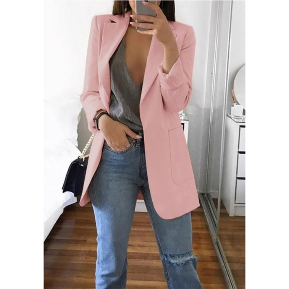 Fashion Basic Notched Collar Solid Blazer Women Spring Autumn Casual Plus Size Suit Slim Coats Office Ladies Outwear Chic Tops