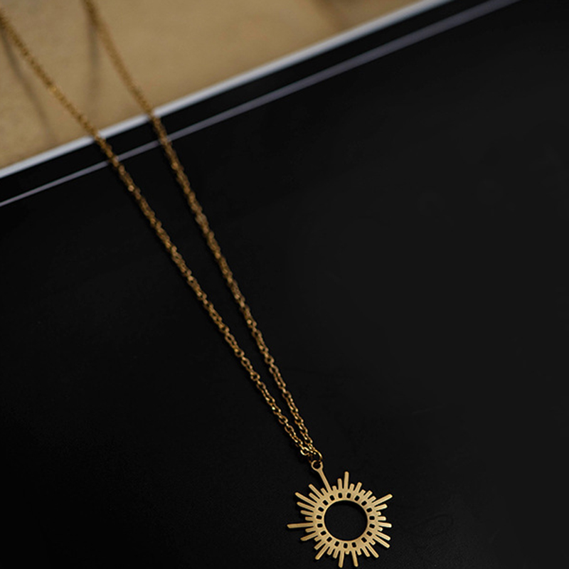 Gold Circle Irregular Sun Necklace For Women Stainless Steel Hollow Out Round Sweater Pendant Necklaces Jewelry Gift