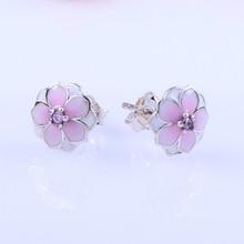 Original 925 Sterling Silver Earring Pink Daisy Flower Stud Earrings For Women Wedding Party Fashion Jewelry