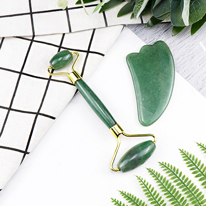 jingzeyi jewelry green Quartz Roller Slimming Face Massager Natural  Facial Massage Roller Stone Body Gua Sha Beauty 2pcs/Sets
