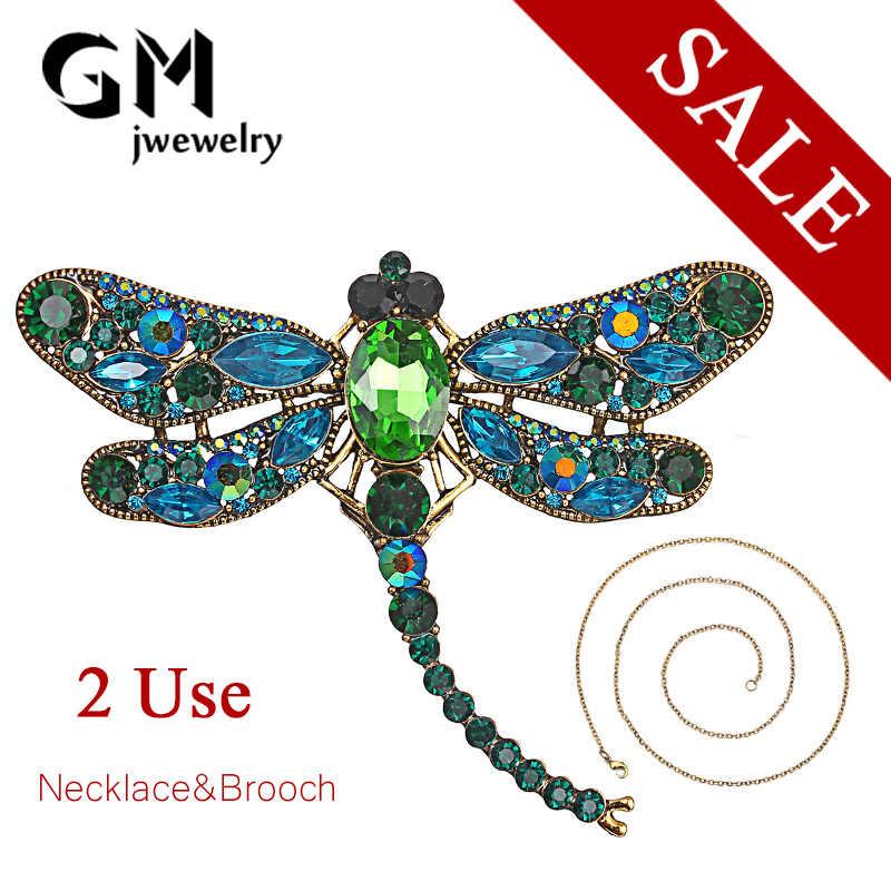 RINHOO kristal Vintage Dragonfly broş kadınlar için büyük böcek broş Pin moda elbise ceket aksesuarları sevimli takı