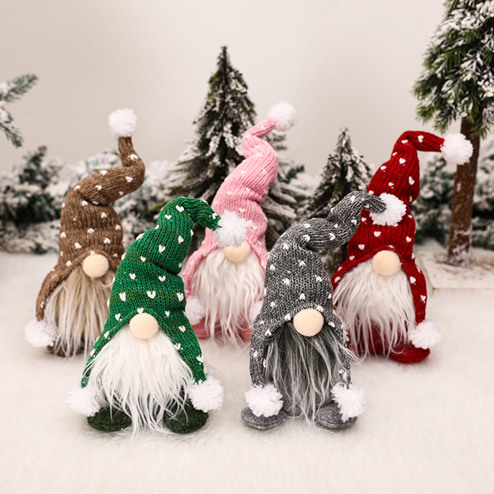 Christmas Gnome Doll Ornaments Standing Plush Dolls Holiday Decoration Tabletop Figurines for Home Windows Gifts
