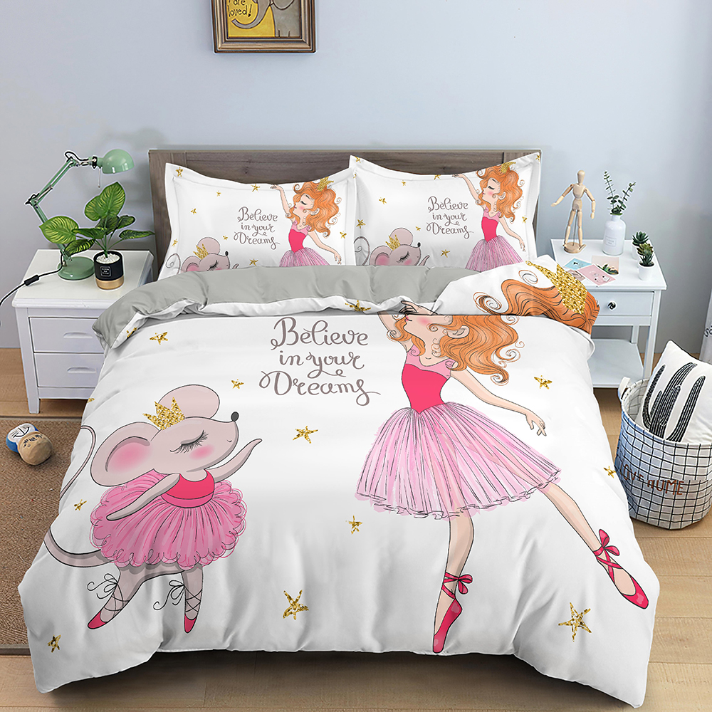 White Comforter Bedding Sets Red Pink Cute Dancing Gir Duvet Cover Kids Bed Cover Set Luxury Bed Quilt Cover