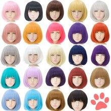 Mumupiショートかつらボブ合成女性のための前髪ブロンドピンク、赤、黒自然な髪ボブかつらコスプレロリータ