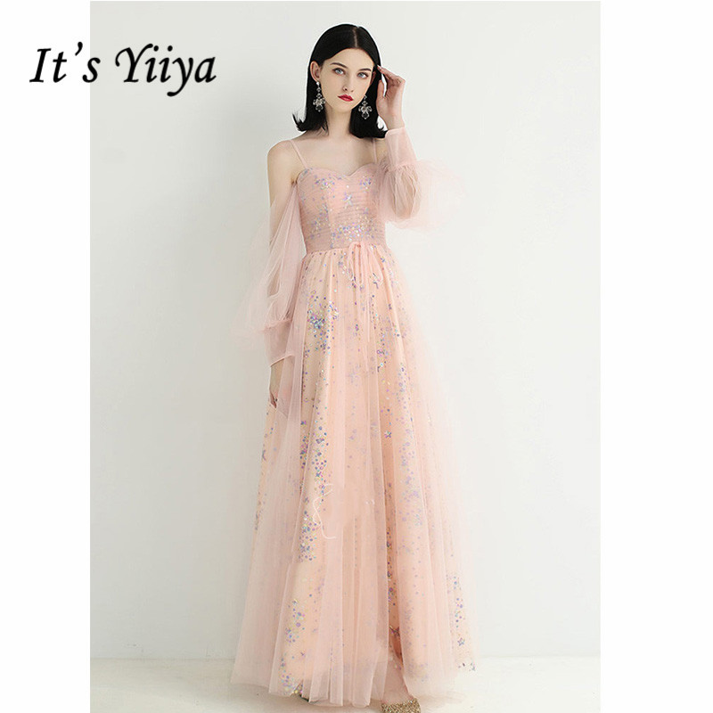 It's Yiiya Evening Dress 2019 Long Sleeve Lace Up Sequins A-Line Dresses Spaghetti Strap Boat Neck Elegant Long Party Gown E1098