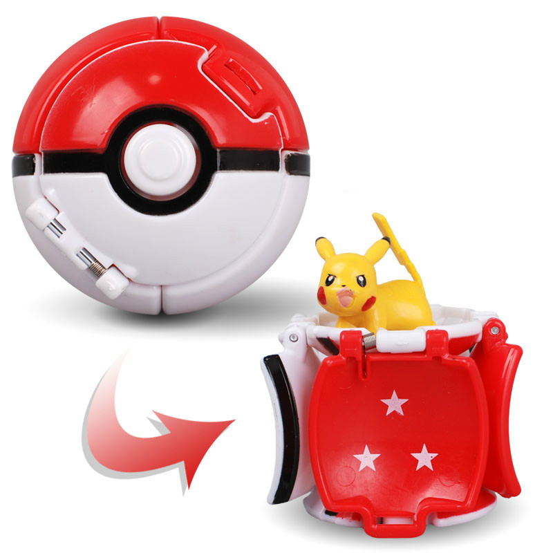 Pokemon Pikachu Elf Ball Toy 7CM Pikachu Pokeball Cartoon Movie Anime Action Figures Toy For Kids Children's Educational Toys