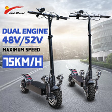 48V/52V 2000W Dual Motor e scooter with Seat 11 inch Folding escooter Off Road Fat Tire Electric Longboard Electric Motorcycle(China)