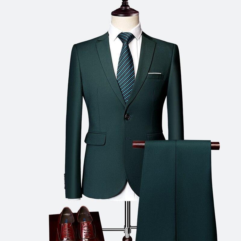 2019 мужская деловая Повседневная рабочая одежда большого размера, Одноцветный тонкий мужской костюм, Свадебный комплект из 2 предметов для ж