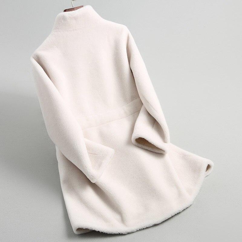 Women 2020 Real Wool Fur Coat With Belt Long Sheep Shearing Coats Thick Warm Winter Female Jacket Outwear 18196 WYQ2113 S