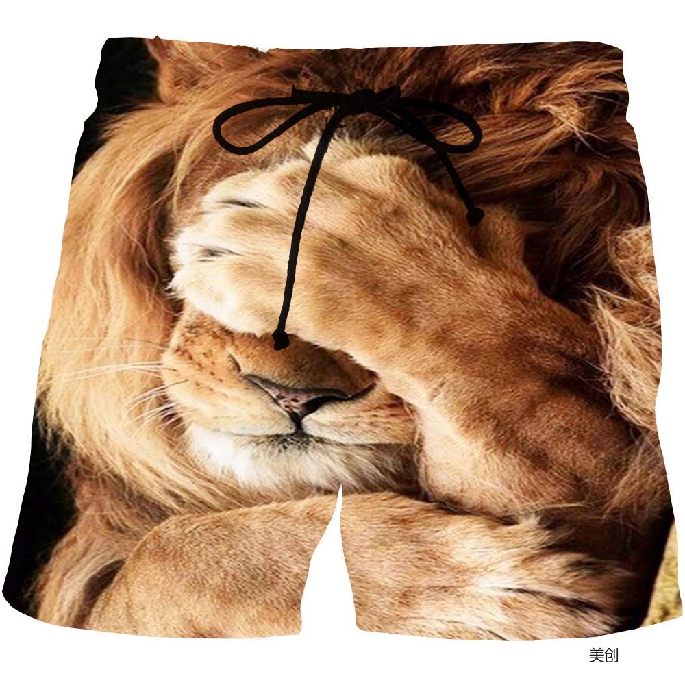 Short Pants for Man Summer Men's Animal Graphic Lion Beach Shorts 3D Pattern Predator Boardshorts Men Short Pants Drop Shipping