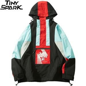 Image 3 - 2019 גברים Harajuku היפ הופ Jacket Streetwear צבע בלוק סלעית מעיל רוח מעיל רטרו טלאים Zip מסלול מעיל סתיו