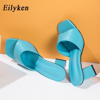 Eilyken 2021 nowy pantofel damski letni odkryty sandał kwadratowy szpilki Slip On Flip Flop eleganckie kobiety slajdy sandał rozmiar 41 42 tanie i dobre opinie CN (pochodzenie) RUBBER kapcie Wysoka (5 cm-8 cm) 0-3 cm Dobrze pasuje do rozmiaru wybierz swój normalny rozmiar Wsuwane