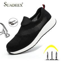 SUADEEX Mens Work Safety Shoes Men Sneakers Outdoor Steel Toe Cap Summer Breatable Ankle Boots Working