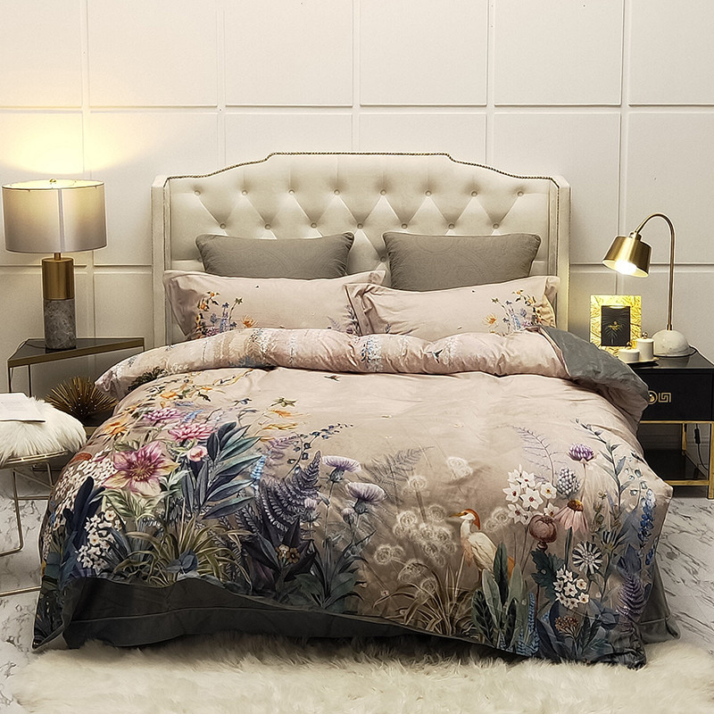 Plush Warm Soft Bedding Set Queen King Size 4Pcs Birds And Flowers Leaf Pattern Rich Color Duvet Cover Bed Sheets Pillow Shams