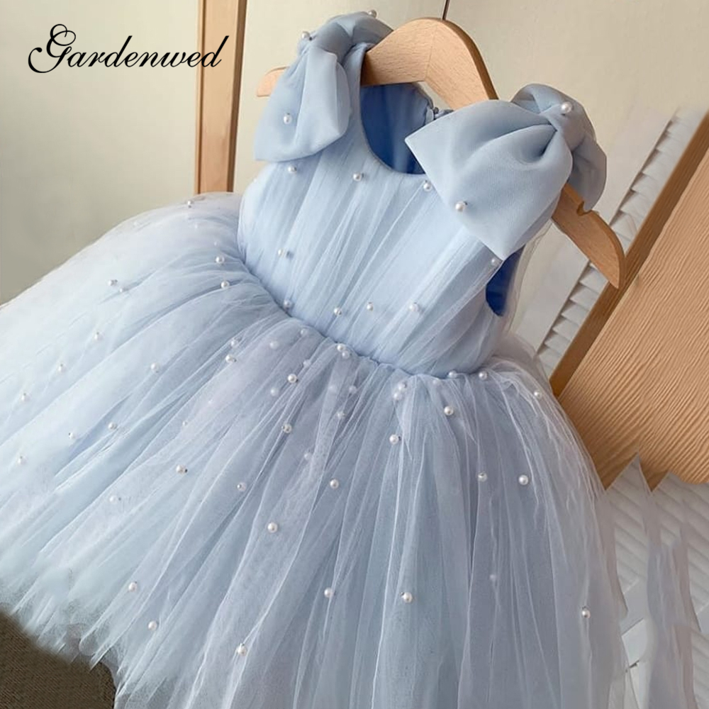Light Blue Pearls Flower Girl Dresses Big Bow O-Neck Short Baby Girl Party Dresses A-Line Pleated Tulle Communion Dresses