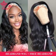 Królowa włosów oficjalny sklep ciało fala ludzki włos peruka z pałąkiem na głowę brazylijski pałąk peruka dla kobiet Glueless Remy ludzki włos