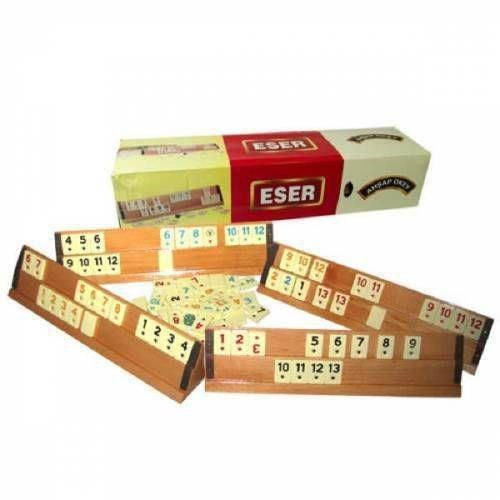 Eser Big Size Wooden Board Game Rummikub Team Game For 4 People Travel Holiday Picnic Game Set