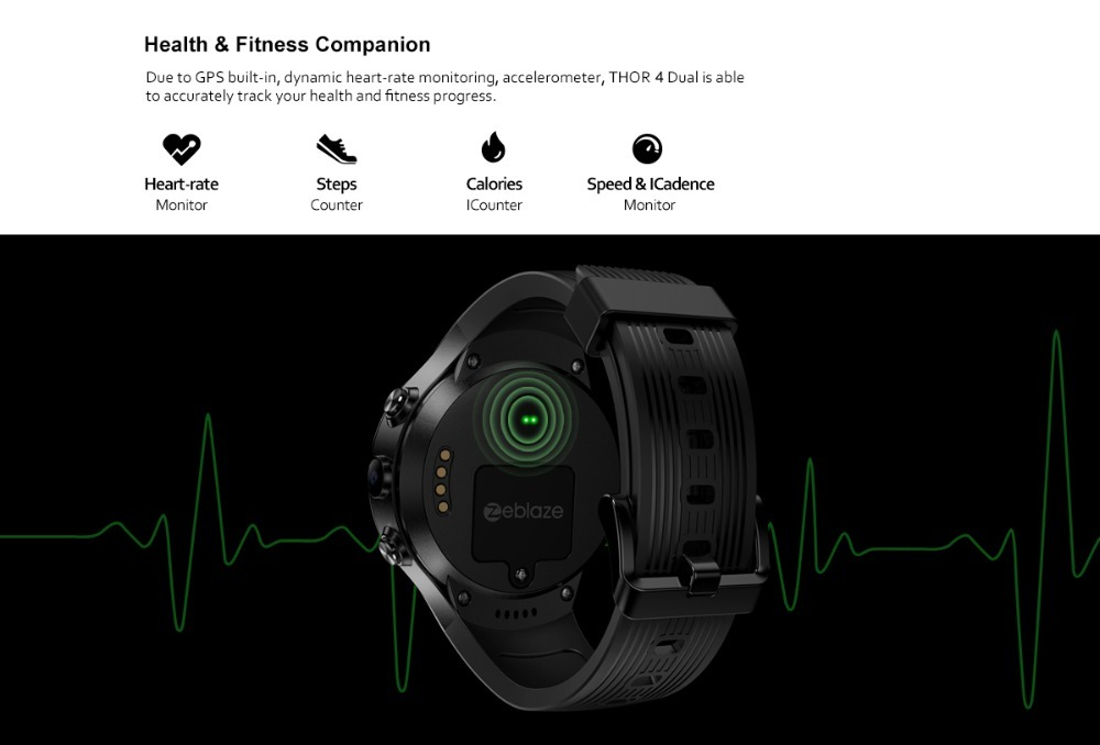 "[Free TWS Earphones] Zeblaze THOR 4 Dual 4G SmartWatch 5.0MP+5.0MP Dual Camera 1.4"" AOMLED GPS/GLONASS 1GB+16GB Smart Watch Men - smart-warch, men"