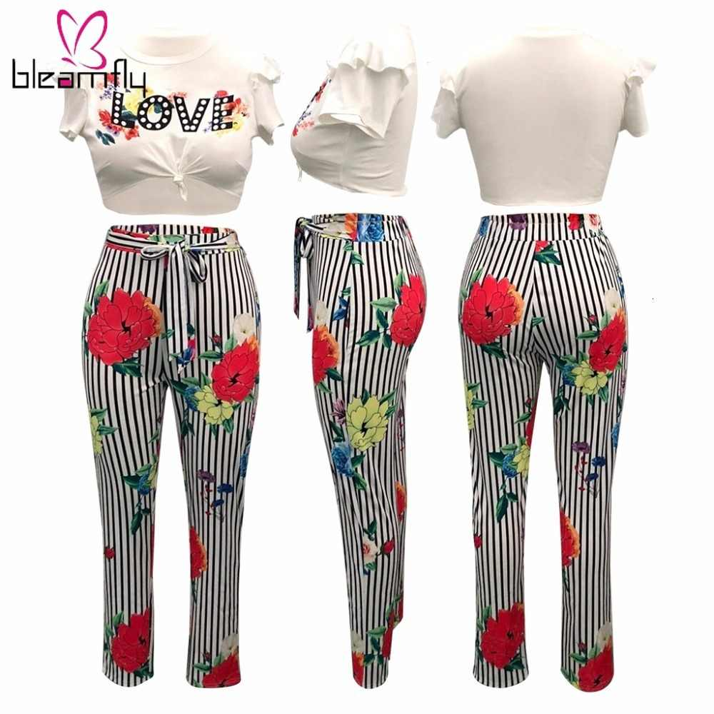 Lato 2 sztuka zestaw kobiety krótki top i spodnie damskie Sexy wzburzyć nadruk w kwiaty i paski słodkie pasujące zestawy na co dzień strój