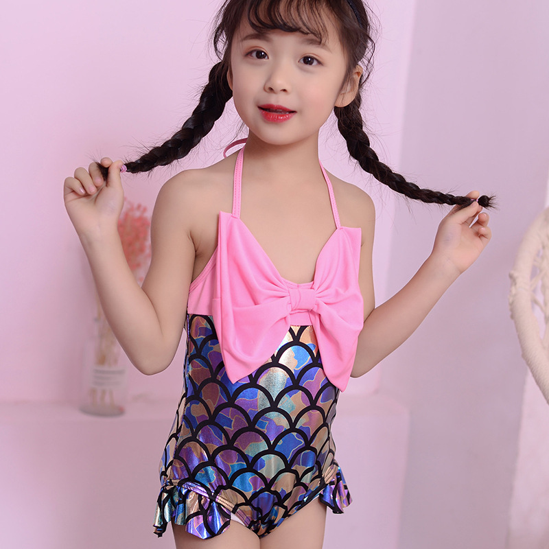 New Style Korean-style Mermaid One-piece Swimming Suit Cute Large Bow Age Of 3-5 GIRL'S Swimsuit Female Baby Swimming Suit