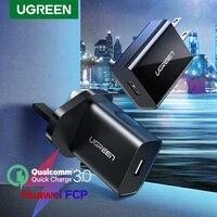 Ugreen-cargador USB de carga rápida para móvil, Cargador rápido QC3.0 para Samsung s10, Xiaomi, iPhone, Huawei, QC 3,0, 18W