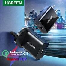 Ugreen carregador rápido usb 3.0 para smartphone, carregador de carga rápida, qc, 18w, eua, reino unido, qc3.0, para samsung s10, xiaomi, iphone, huawei carregador de celular