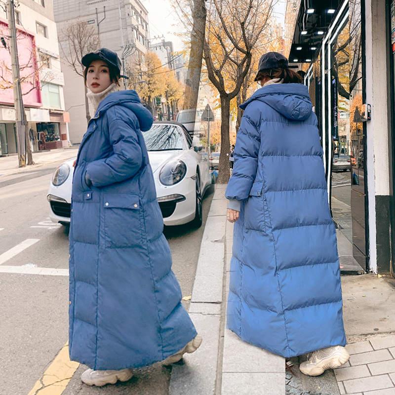 Super Long Overcoat Hooded Blue Winter Jacket Women Loose Thicken Down Cotton Padded Jacket Warm Ladies Winter Coat Parkas C5969