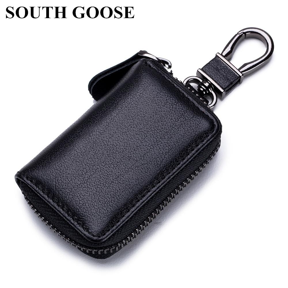 SOUTH GOOSE High Quality Split Leather Car Key Holders Men Fashion Keys Organizer Smart Keychain Women Cute Housekeeper Key Bag