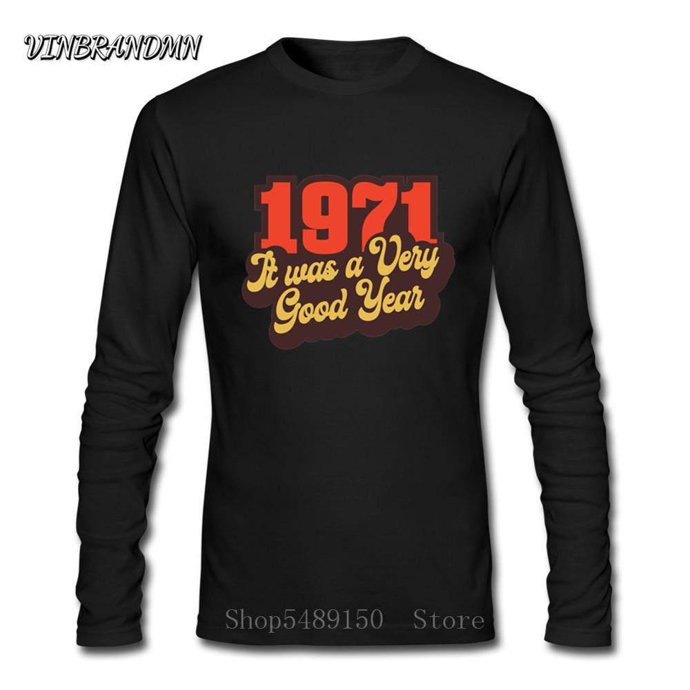 <font><b>1971</b></font> Classic Casual Fashion Birthday Party Best Gift Popular tees <font><b>Vintage</b></font> Adult T-Shirt Long Sleeve Men's Cotton Tshirt Clothing image