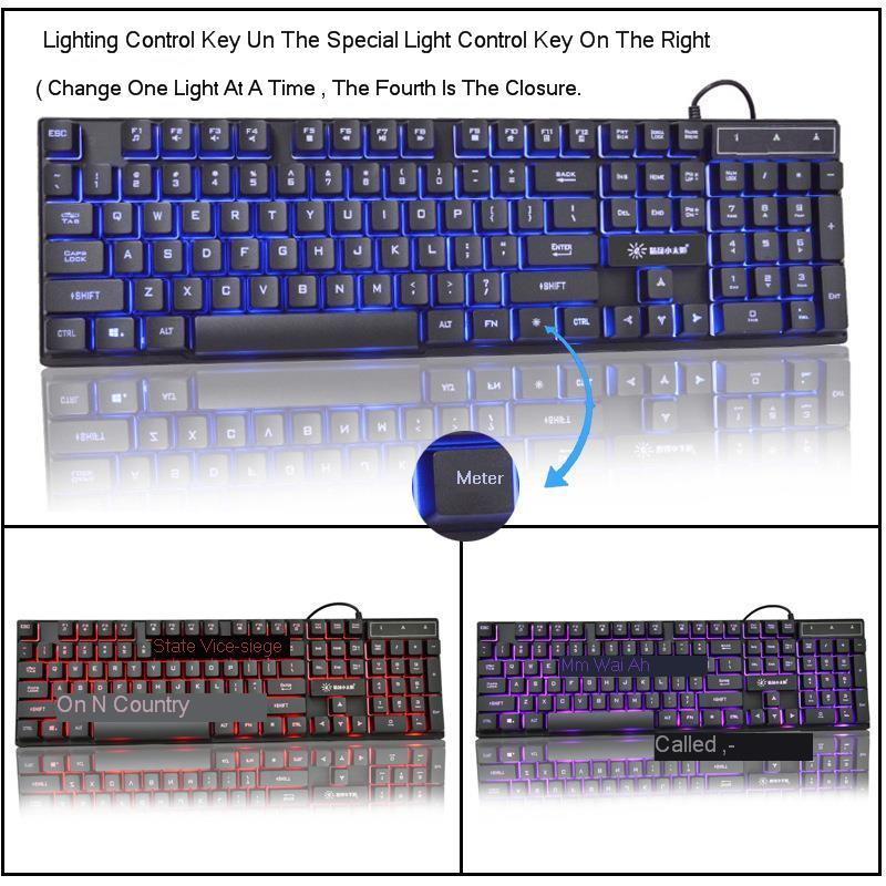 K201 Gaming Keyboard Imitation Mechanical Keyboard With Backlight Russian Gamer Keyboard Wired USB Game Keyboards For Computer in Keyboards from Computer Office