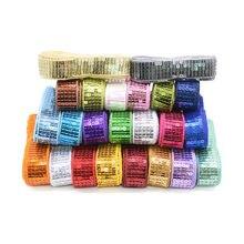 Fita de costura de 10 jardas 25mm tecido de costura de fita de lantejoulas, fitas de fita de embalagem de presente para decorações de festa presentes diy embrulho