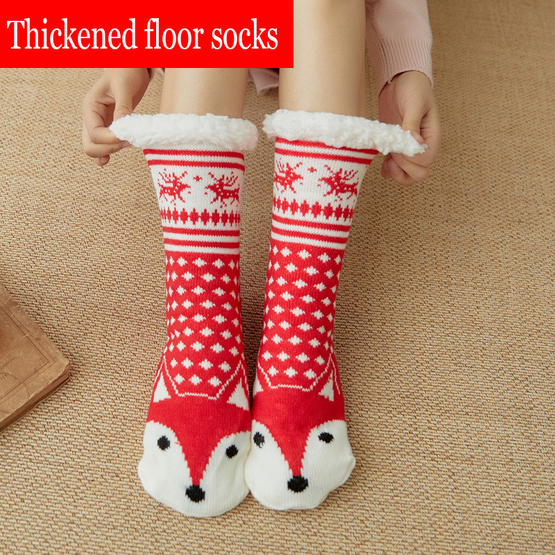 New Winter Ladies Warm Socks Cartoon Red Fox Fashion Floor Socks Comfort Super Soft Plush Lined Thick Socks Christmas Gifts2019