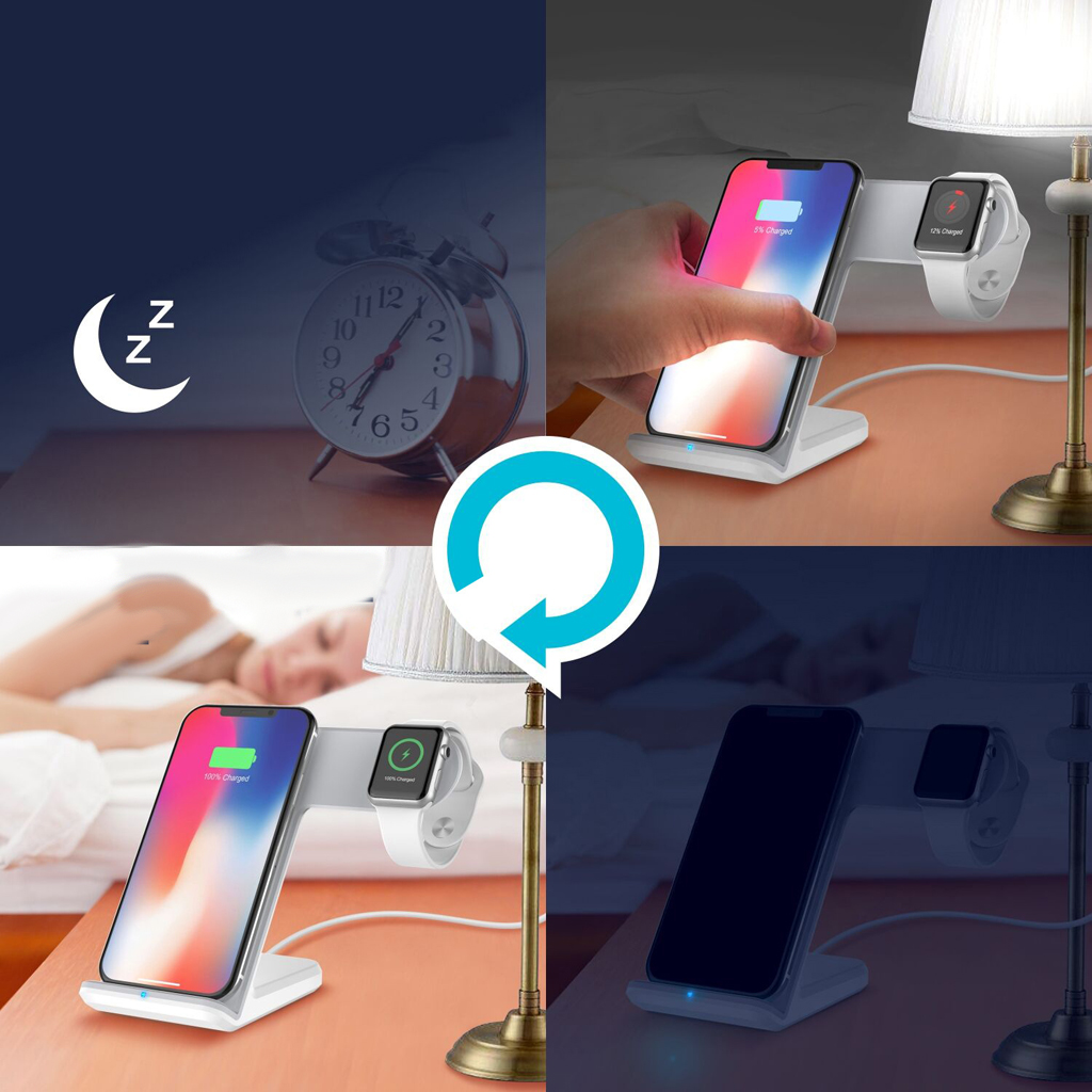 4x Vertical Phone Watch Wireless Charger 10W Fast Charging Stand Charger Pad Stand