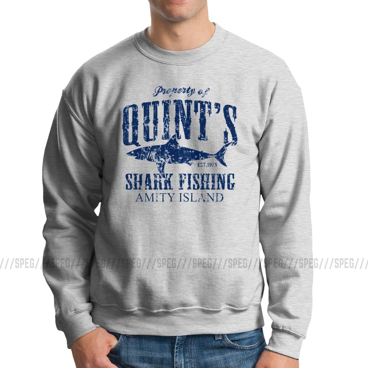 Hooded Sweatshirt Long Sleeve Quints Shark Fishing Blue for Mens