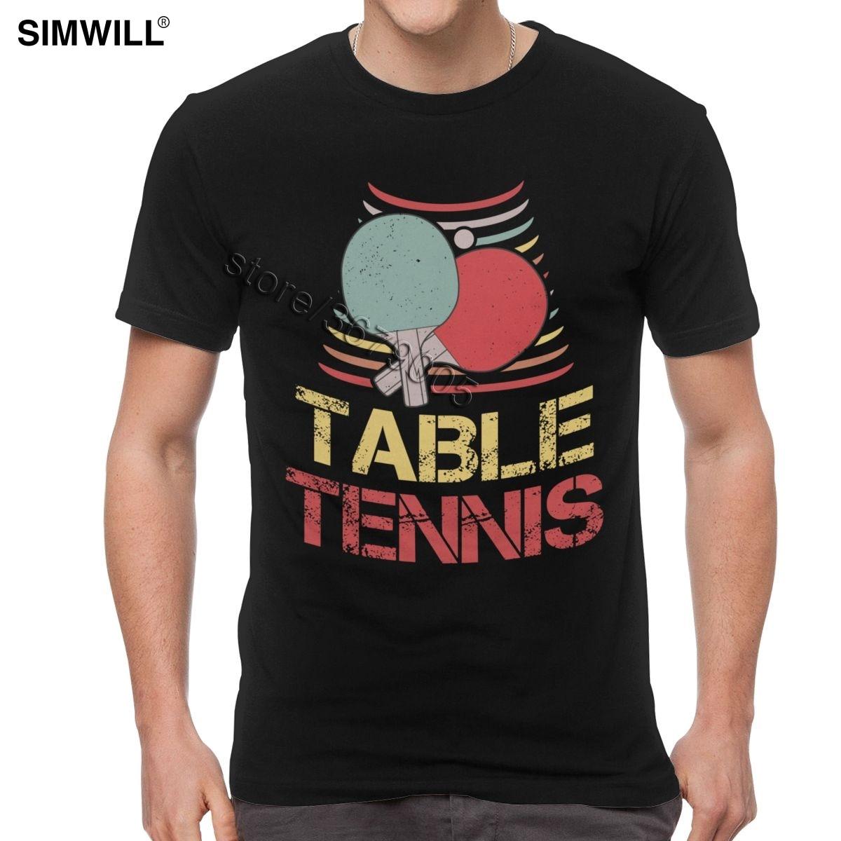 Vintage Table Tennis T Shirt Men Short Sleeve Cotton Ping Pong Tees Unique Casual Streetwear Summer T-Shirt Gift Idea Tops