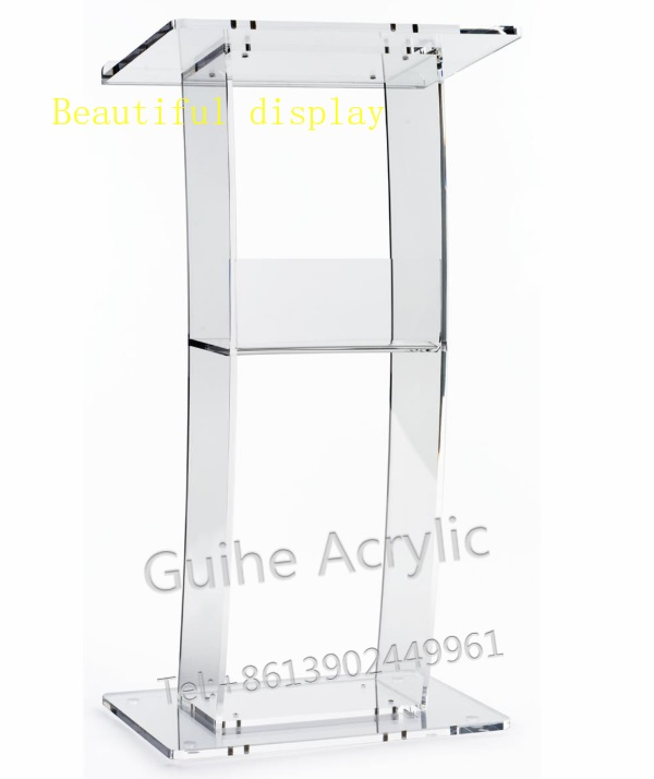 GUIHEYUN Acrylic Single Shelf Podium Lectern Acrylic Podiums, Clear Pulpits, And Lecterns
