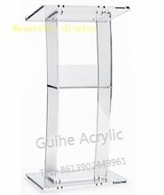 GUIHEYUN akrylowe Podium z pojedynczą półką Podium akrylowe Podium przezroczyste ambony i mówce tanie tanio Z tworzywa sztucznego