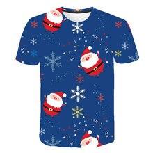 Новинка 2021, футболки с аниме, милая мужская одежда с 3D-принтом Санта-Клауса для Счастливого праздника, праздничная футболка, детская одежда ...