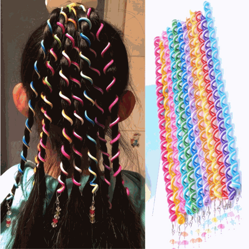 6 Pcs/Set Random Color Hair Curler Braid Maintenance Hair Sticker Baby Girls' Decoration Accessories Hair Extension For Braids