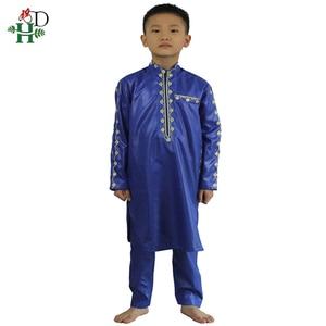 Image 5 - H & D Afrikaanse Kleding Voor Kinderen Jongens Borduren Dashiki Bazin Kind Overhemd Broek Pak Gewaden Ensemble Mode Kinderen Jalabiya z2804